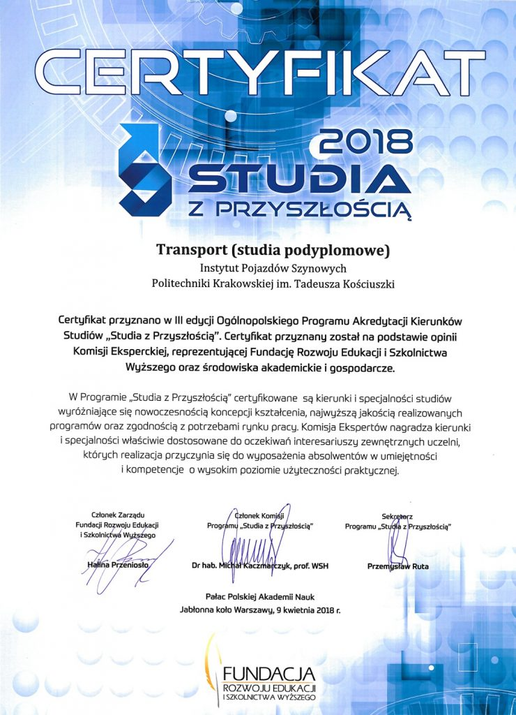 Certyfikat Studia